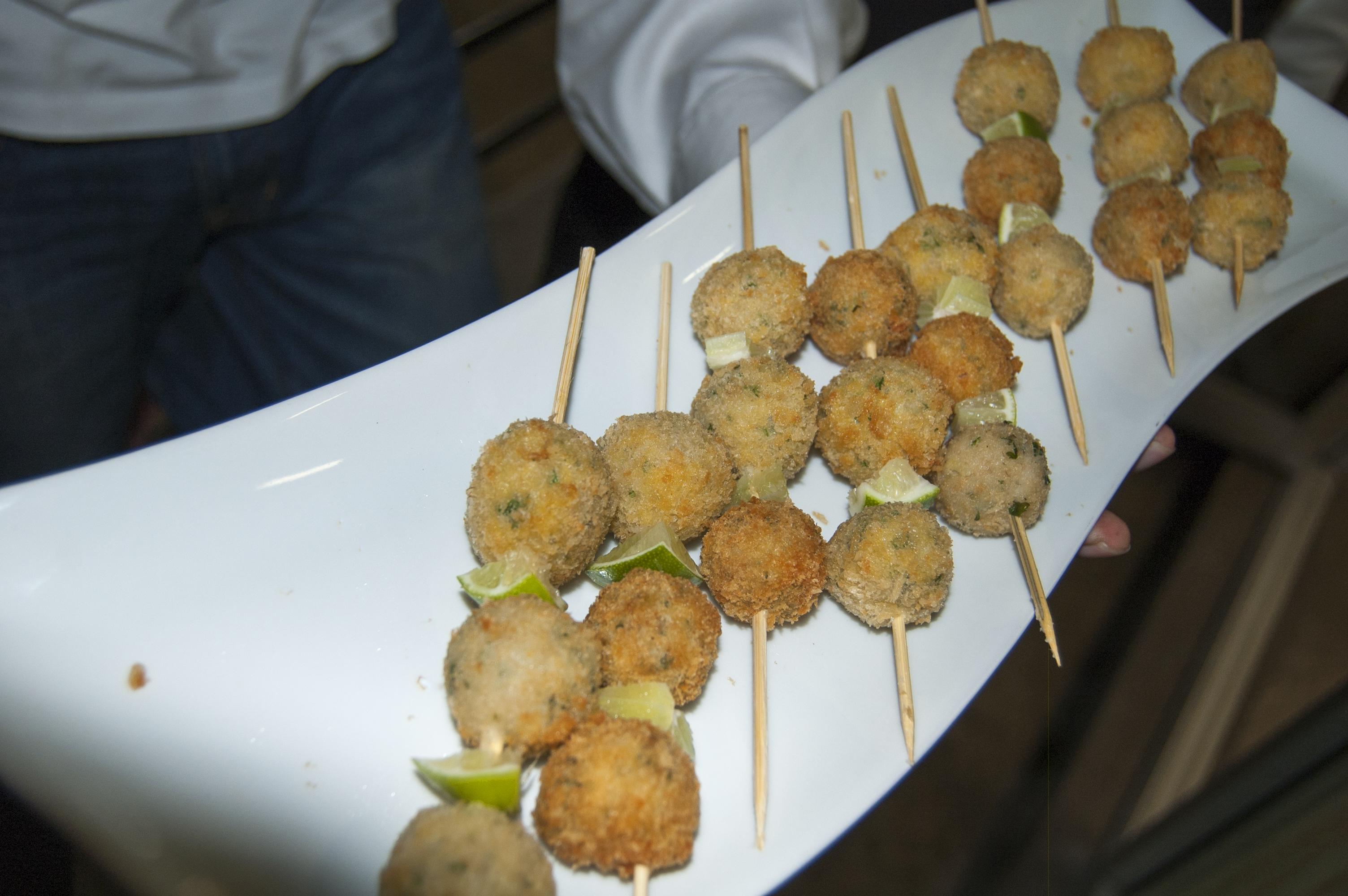 Fish meatballs on skewers