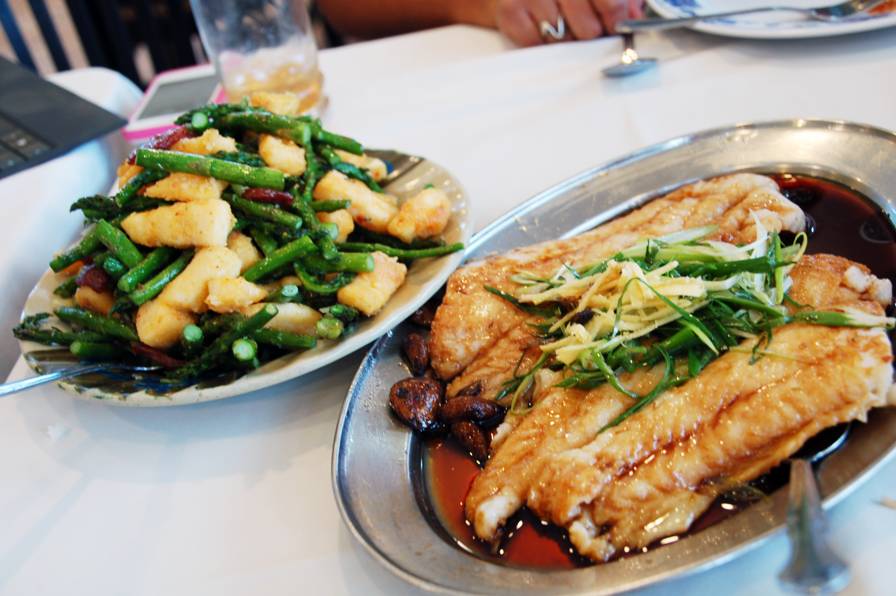 Calamari with asparagus, garlic fish with mushrooms at China House, Mexicali, Baja California, Mexico