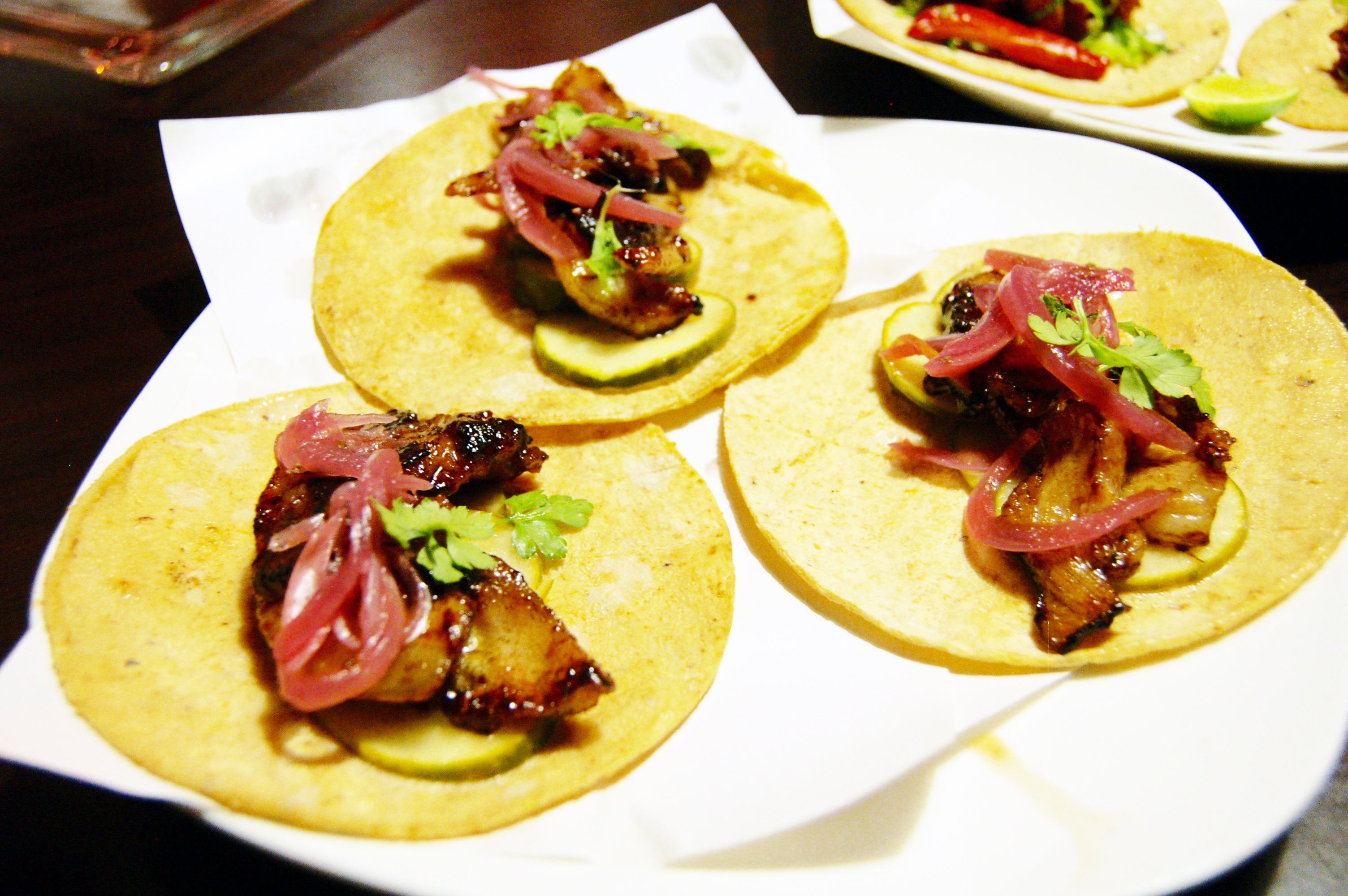 Tacos of pork belly at The Wok, Mexicali, Baja California, Mexico