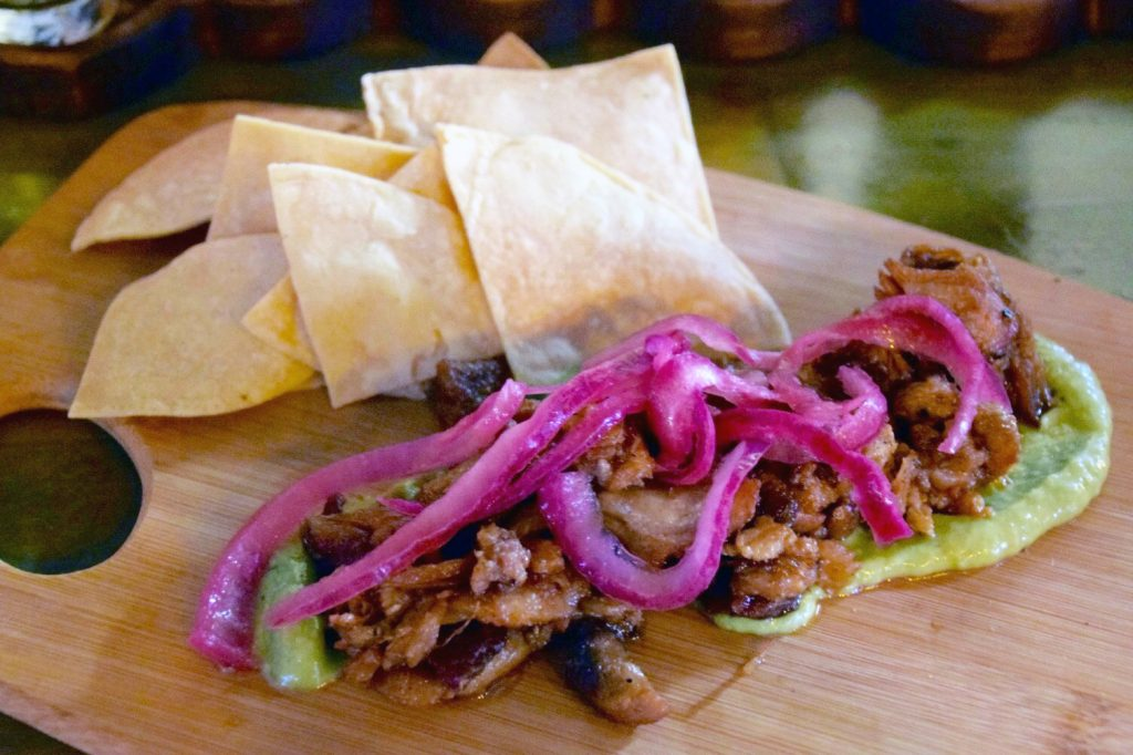 Chicharrón in smoked avocado salsa at The Rib Shop, Tijuana, Baja California, Mexico