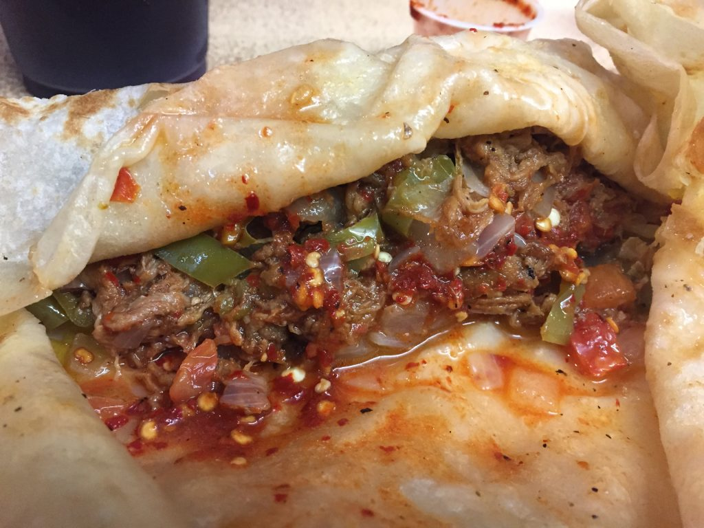 Machaca burrito at Bol Corona, Tijuana, Baja California, Mexico