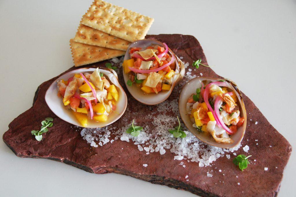 Prepared clams at Navio Seafood, Tijuana, Baja California, Mexico