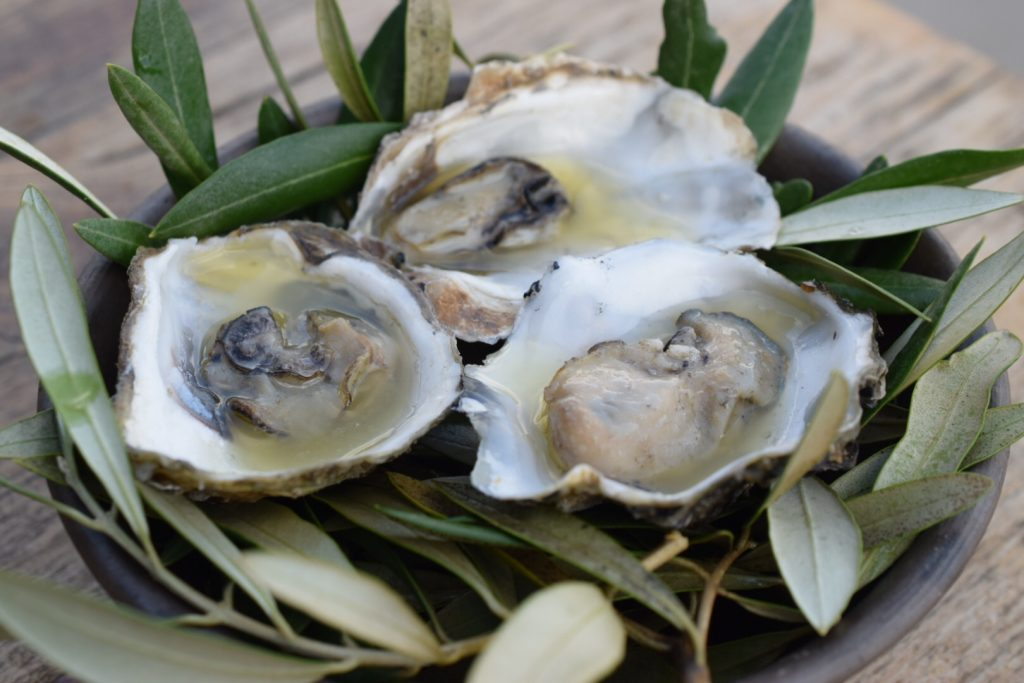 Smoked oysters at Origen, Valle de Guadalupe, Baja California, Mexico