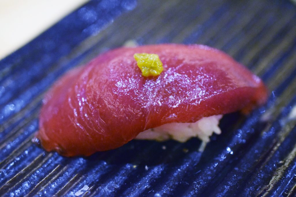 Nigiri of toro (bluefin tuna) at Toshi Toshi, Tijuana, Baja California, Mexico