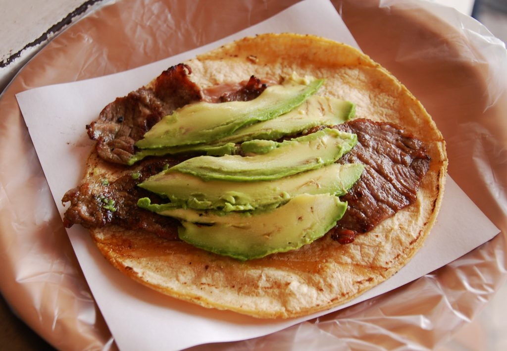 Carne asada taco at Tacos Don Esteban, Tijuana, Baja California, Mexico