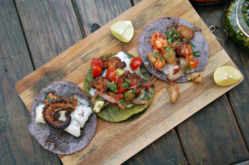Shrimp al pastor taco at La Carreta, Tijuana, Baja California, Mexico