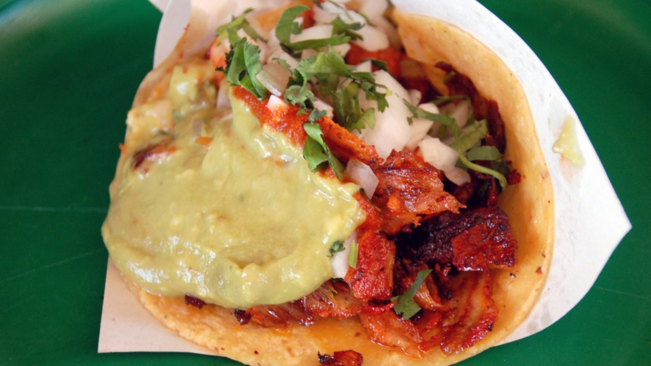 Taco adobada at Tacos La Tres Salsas, Tijuana, Baja California, Mexico