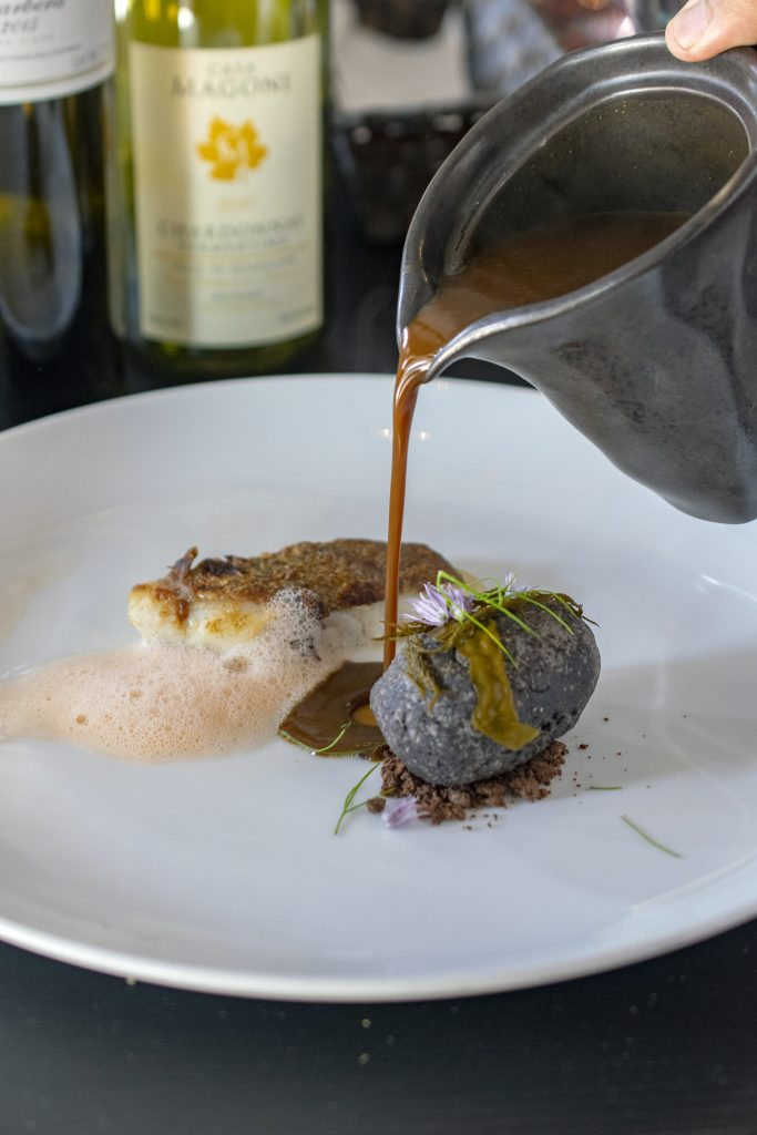 Roasted Snapper with Blue Corn Pulcan at Restaurante Amores, Tecate, Baja California, Mexico